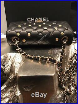 NWT CHANEL Lucky Charms Mini Classic Flap Black Lamb 18K 2018 Mademoiselle Gold