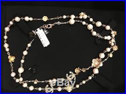 NWT Chanel 18C Cruise Flora Runway Necklace White Pearl CC Gold-Tone 42 France