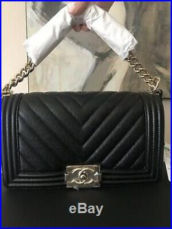 NWT Chanel Medium Chevron Boy Bag Black Caviar