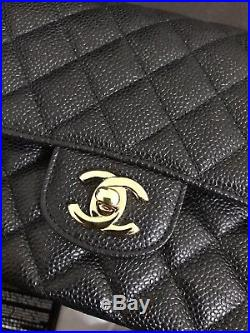 NWT NIB Chanel Classic Medium Flap Black Caviar Gold Hw Made In France FREE SHIP