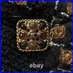 New $4990 Chanel 11a Black Gold Paris Byzance Gripoix Wool Jacket 46 44 42