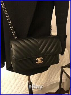 New Authentic $3800 Chanel Black Mini Classic Flap Bag Lambskin Rectangle Gold