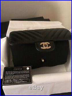 New Authentic $3800 Chanel Black Mini Classic Flap Bag Lambskin Rectangle Gold