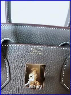 New Authentic Hermes Etoupe Togo Birkin 30 Gold Hardware