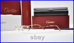 New CARTIER Rimless piccadilly C Decor Gold smooth Occhiali Frame Sunglasses
