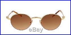 New Cartier Semi Rimless Mogi 17309 Sunglasses Gold Frame Blue Sapphire France