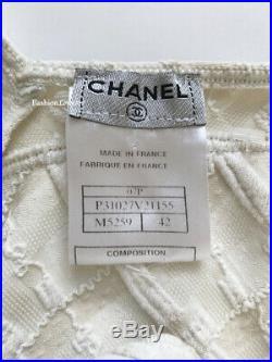 New Chanel 07p Ivory Ecru Gold Textured CC Bathingsuit Swimsuit Bodysuit 42