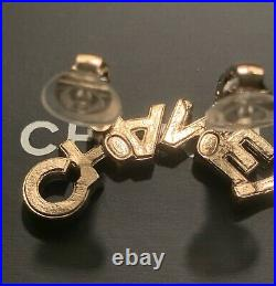 New Chanel Letter CHA NEL Gold Crystal Logo Clip-On Earrings 20B
