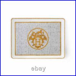 New Hermes Mosaique Au 24 Gold Small Sushi Tray #p026089p Brand Nib Save$$ F/sh