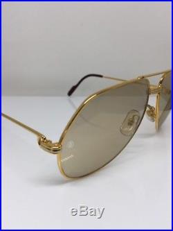 New Vintage Cartier Aviator Gold 62mm Large Vendome Sunglasses France