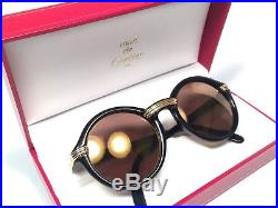 New Vintage Cartier Cabriolet Round Black 49mm Sunglasses 18k Gold France