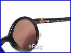 New Vintage Cartier Cabriolet Round Black 52mm Sunglasses 18k Gold France