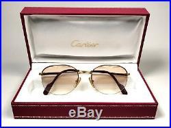 New Vintage Cartier Colisee 49mm Gold Light Lenses Sunglasses France 18k