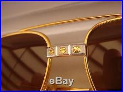 New Vintage Cartier Santos Screws 59mm Medium Sunglasses France 18k Heavy Plated