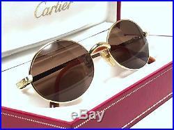 New Vintage Cartier Sorbonne 51mm Gold Brown Lenses Sunglasses France 18k