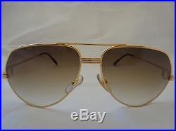 New Vintage Cartier Vendome! Large! 62mm Brown Lens Sunglasses France 18k Gold