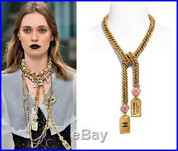 Nib 20c Chanel CC Logo Gold Pink Glass Black Chain Pendant Necklace 2020