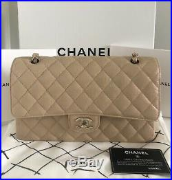 Nib Chanel Medium Classic Flap Iridescent Beige Caviar Made In France 19p
