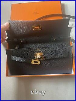 Nib Hermes Kelly To Go Black Epsom Gold Hardware