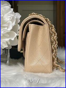 Nwt 2021 Chanel Beige Caviar Gold Hardware Small Quilted Classic Flap Bag Rare