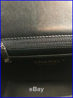 Nwt Chanel 18b Mini Square Flap Bag Quilted Black Lambskin Leather Gold Hw