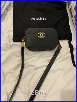 Nwt Chanel Black Caviar Waist Bag Belt Gold 2019