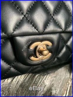 Nwt Chanel Black Mini Classic Flap Bag Quilted Lamb Skin Gold Rectangle France