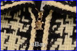 Nwt New Celine Black White Check Knit Wool Gold Zip Blazer Coat Jacket 36 France