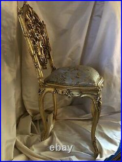 Pair of 18th Century Louis XV Monkey Chinoiserie Chairs sculpted Giltwood, Silk