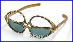 Paulette Guinet Hand Carved Prototype Gold Leaf Reader Sunglasses 1950's FRANCE