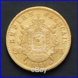 Pièce or 20 francs or Napoléon III tête laurée 1861 A gold coin France