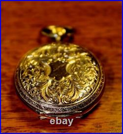 RARE Antique 1889 Paris Exhibition Billodes Zenith Rose Gold Ladies Pocket Watch
