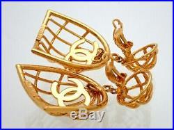 RARE Authentic Vintage Chanel earrings CC logo bird cage dangle #ea2474
