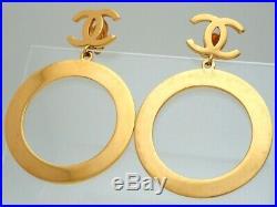 RARE Authentic Vintage Chanel earrings CC logo large hoop dangle #ea2478