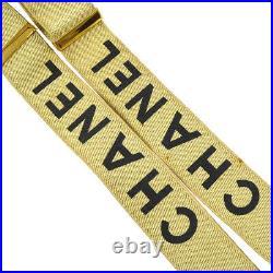 RARE! CHANEL CC Suspenders Black Beige Gold Canvas Leather Vintage Auth A50856