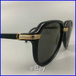 RARE Cartier Men Unisex Vitesse 60 15 Vintage Black Gold Aviator Sunglass Glass