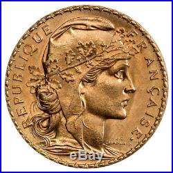 Random Date 1899-1915 French Gold 20 Francs Rooster Coin. 1867 Oz (AGW) SKU29057