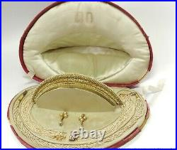 Rare Antique Natural Pearl Parure tiara 18k Gold French Hallmark Orig Fitted Box