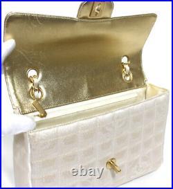Rare! CHANEL Travel Line Chocolate Bar Chain Shoulder Bag Champagne Gold #50768