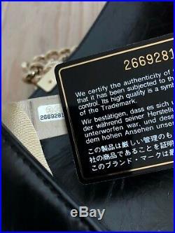 Rare Chanel Boy Small Classic Bag Black Calfskin Mini Rectangle Ghw Gold Chain
