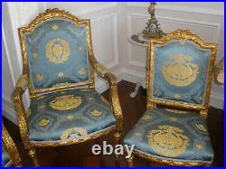 Rare French Antique 19th Century Louis XVI Gilt 5 Pc Sofa, Arm Chairs, Chairs Set