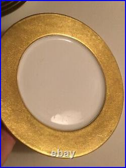 Rare Vintage Limoges, France 11 Gold Service Plates Set of 8