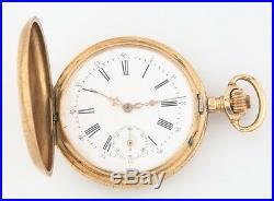 Remontoir 14k Solid Gold 15-Jewel Antique Pocket Watch Size 18 Full Hunter