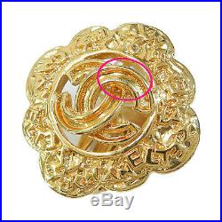 Rise-on CHANEL Gold Plated CC Logos Vintage Flower Clip Earrings #85c