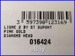 S. T. Dupont Ligne 2, Pink Gold Diamond Head, 16424 (ST016424), New In Box