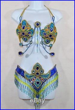 Samba Bra Bikini BELLY DANCE LUX carnival +string CABARET Brazilian COSTUME