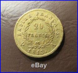 Scarce France 20 Francs 1813-a Gold Coin Xf Condition Napoleon Bonaparte