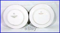 Set 12 France Vignaud Limoges Dessert Plates Cobalt & Gold Trim Wright Tyndale