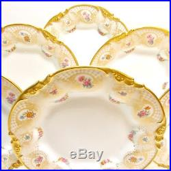 Set Of Six J. Pouyat Limoges France Gold Encrusted Scalloped Dessert Plates Nice