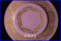 Set of 8 Antique SEVRES FRANCE Porcelain Pink Heavily Gold Ornate Plates 10.5